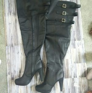 Torrid Black Thigh High Heel Boots